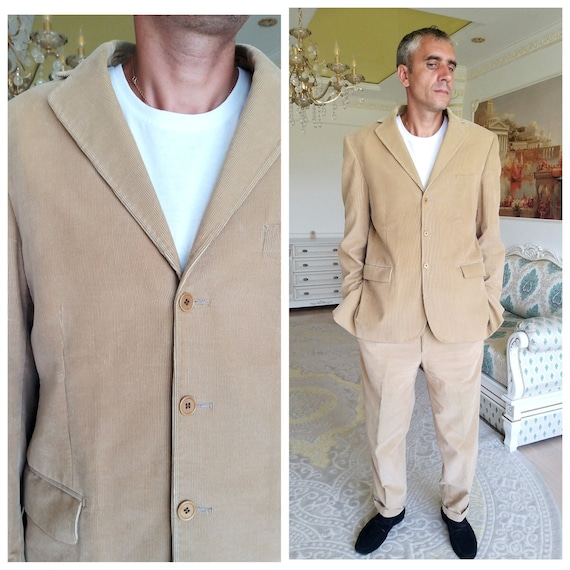 Mens suit Mens Corduroy suit retro suit Two Piece