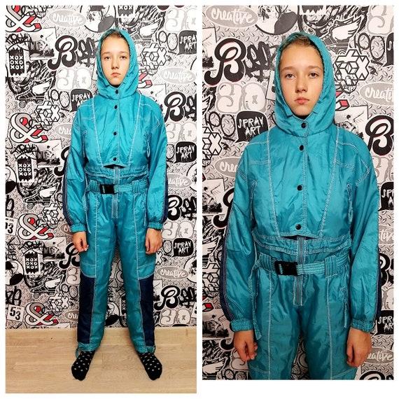 mint green ski suit girl ski suit 90 ski suit Kids