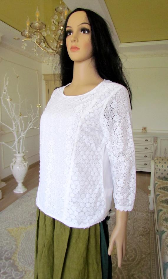 womens WHITE Blouse  womens blouse Victorian Clot… - image 5