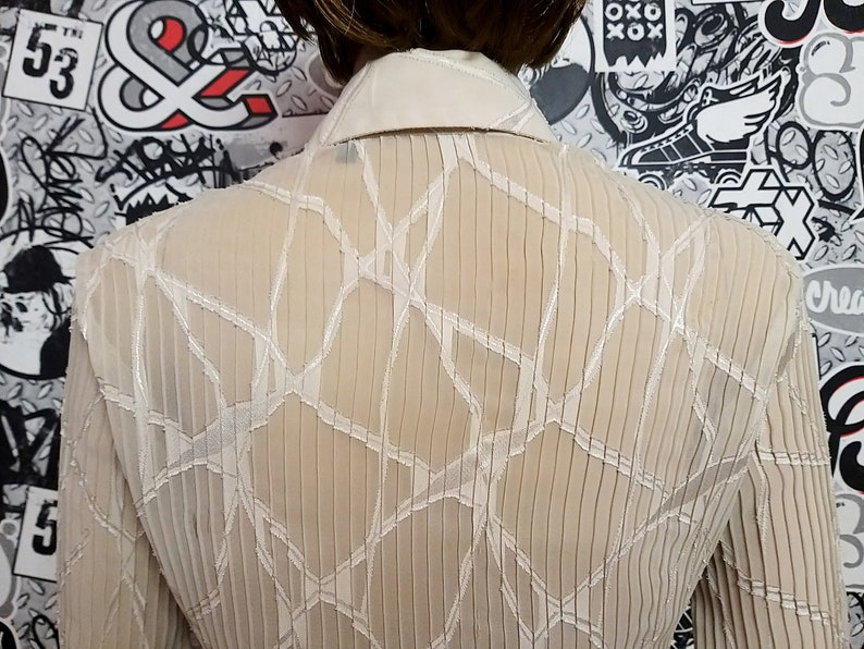 80s beige blouse womens everyday Blouse casual Blouse Sheer blouse transparent blouse lace blouse Edwardian Blouse formal blouse M Victorian