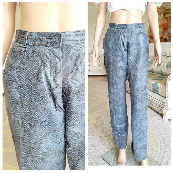 Leather Clothing snake print  Leather pants S cowg