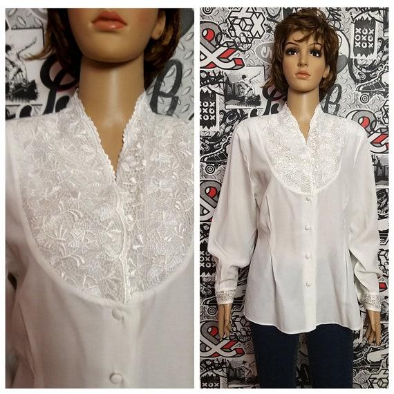 80s white blouse Classic blouse Victorian Clothin… - image 1