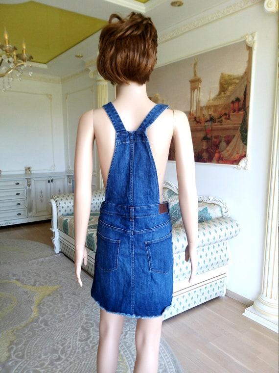 apron dress XL Denim skirt jean skirt Denim Pinaf… - image 9