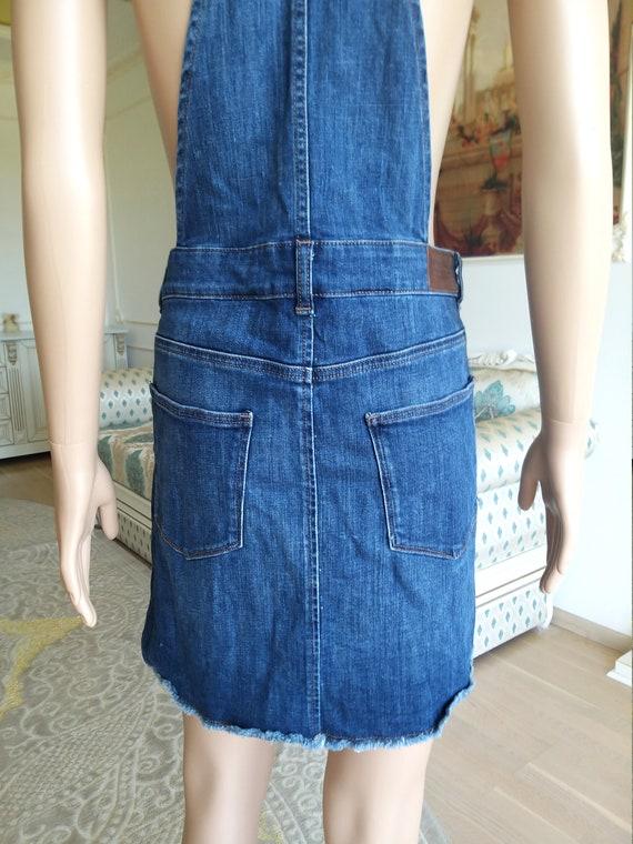 apron dress XL Denim skirt jean skirt Denim Pinaf… - image 6