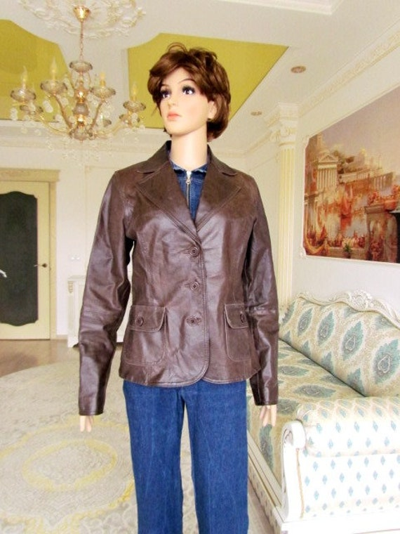 womens Leather blazer 70s retro blazer womens Lea… - image 10