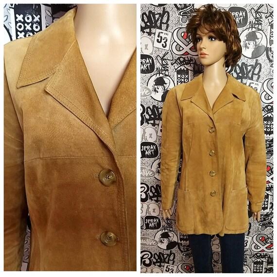 womens blazer camel  suede blazer womens Leather b