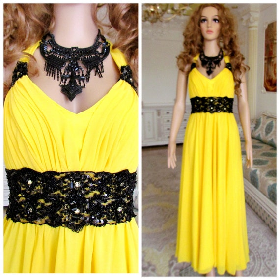 yellow prom dress vintage yellow chiffon dress max