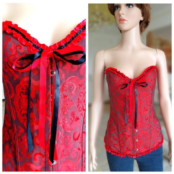 Christmas Gift red Corset XXL medieval Corset Vict