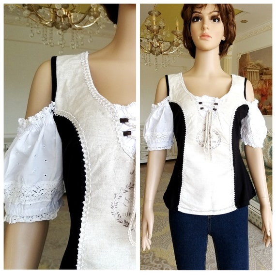 oktoberfest clothing Dirndl Blouse Crop Blouse fol