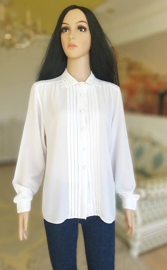 pleated white blouse Victorian Clothing Victorian… - image 9