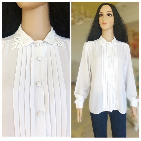 pleated white blouse Victorian Clothing Victorian… - image 1