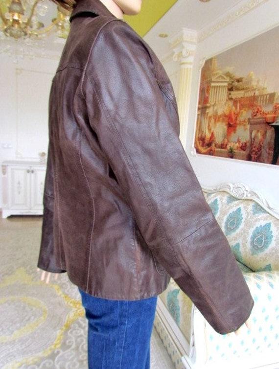 womens Leather blazer 70s retro blazer womens Lea… - image 6