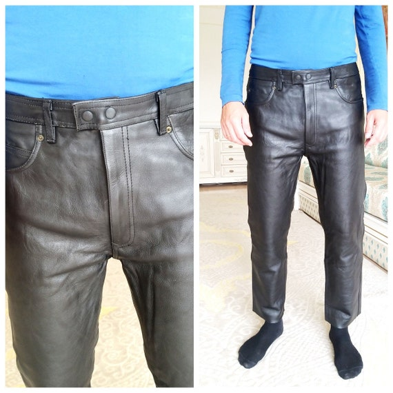 black Leather pants XL Mens Leather bike pants Wes
