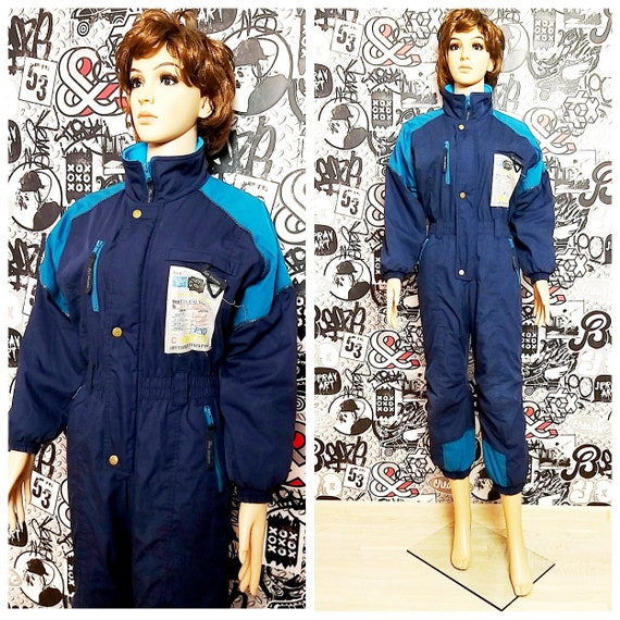 navy blue ski suit Vintage ski Athletic clothing S