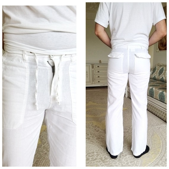 Mens linen Pants Mens White Pants Retro Pants Chin