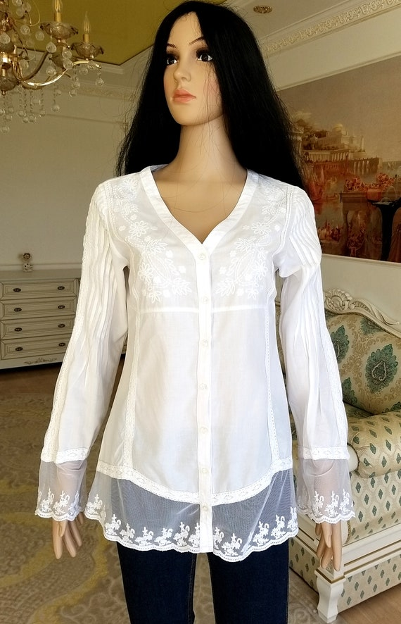 80s embroidery white blouse Victorian Clothing Vi… - image 9