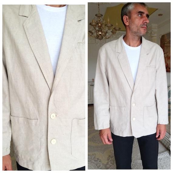 Mens linen Blazer Mens Clothing 80s Mens Blazer Me