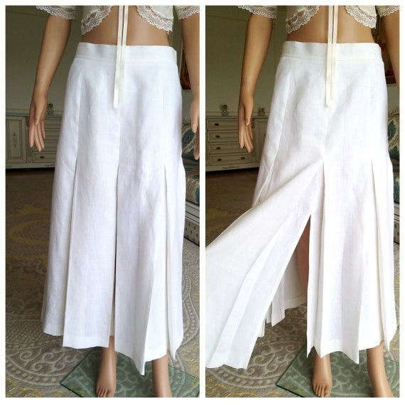 White Linen skirt Pleated Skirt white long skirt W