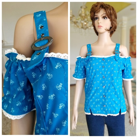blue dirndl top L Dirndl Blouse Crop Blouse folk b