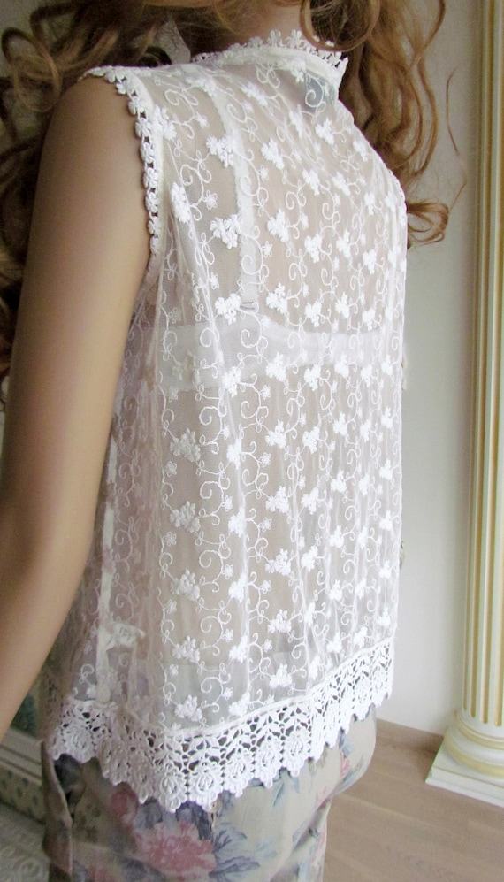 lace blouse white blouse Victorian Clothing Victo… - image 5