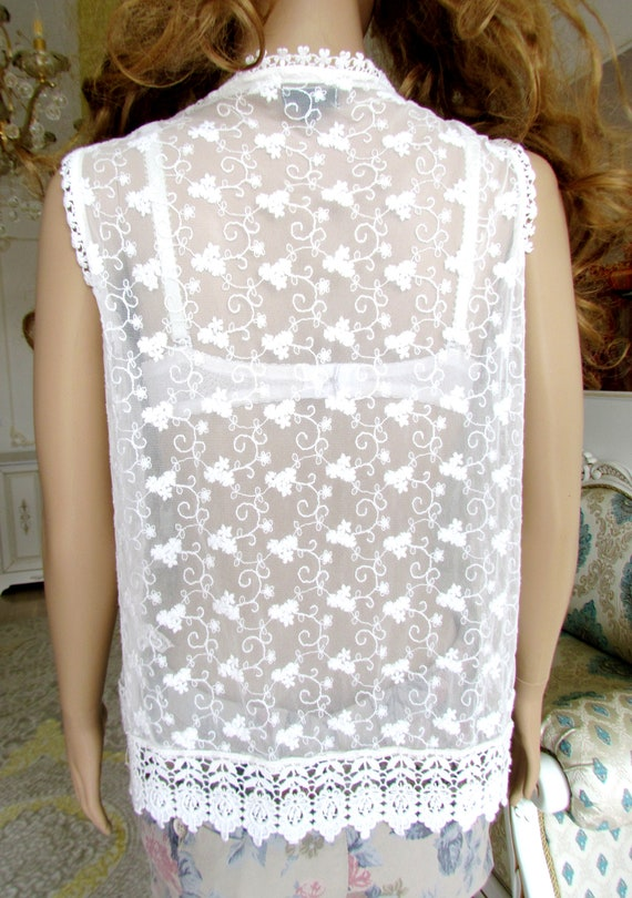 lace blouse white blouse Victorian Clothing Victo… - image 2