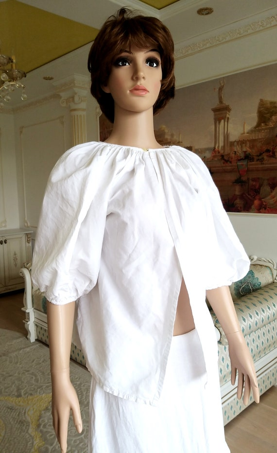 20s Antique blouse Antique Shirt white blouse Vic… - image 4