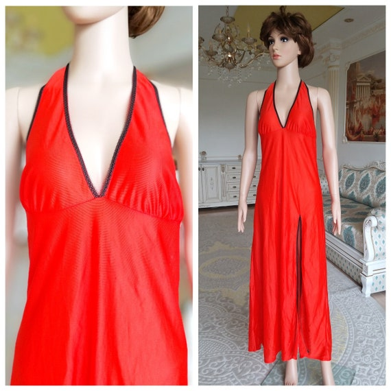 orange nightgown M  wedding lingerie Sheer Slip Dr