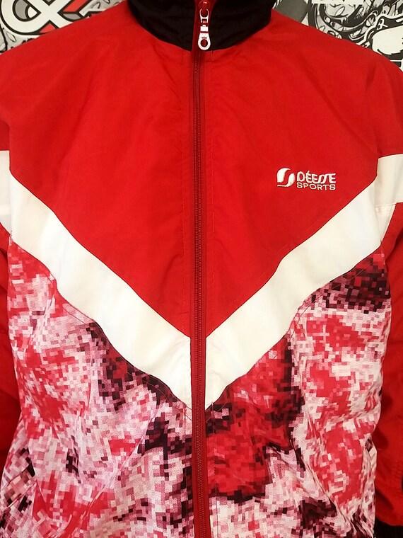 red black track suit M unisex track suit 90s colo… - image 5