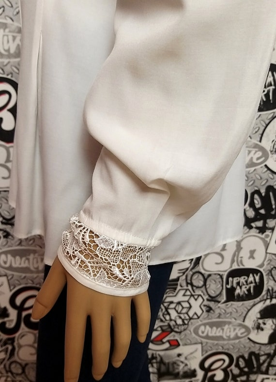 80s white blouse Classic blouse Victorian Clothin… - image 5