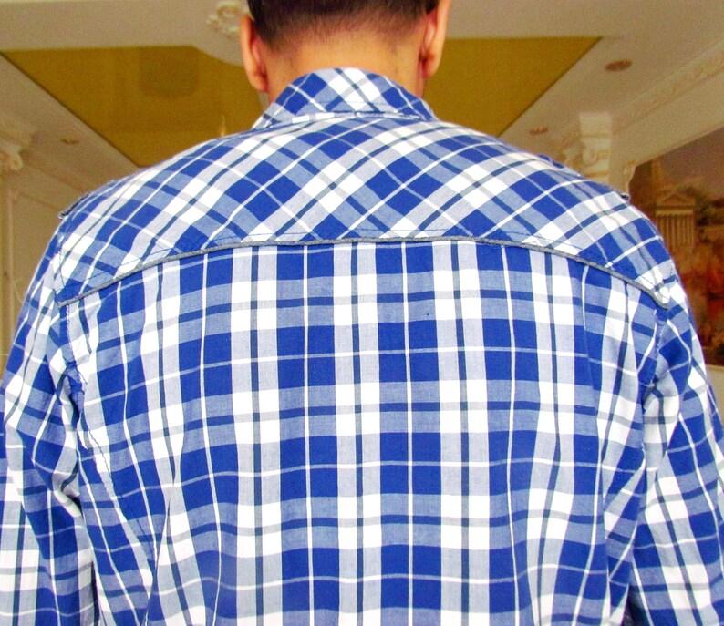 BLUE Plaid shirt mens shirt Cowboy Shirt Button Up Shirt mens Blue White shirt mens LONG sleeve shirt Vintage western shirt Size L