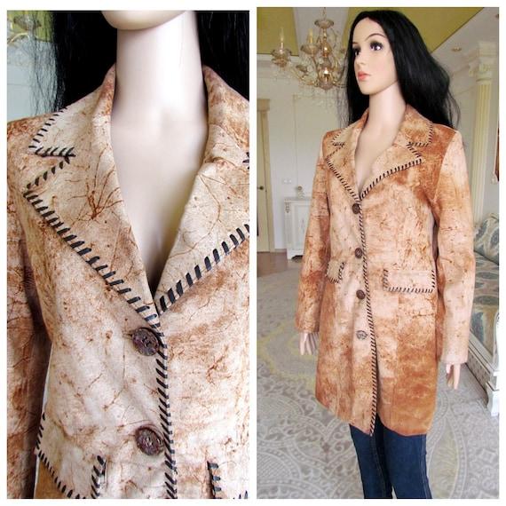 womens Leather blazer 80s retro blazer womens Leat