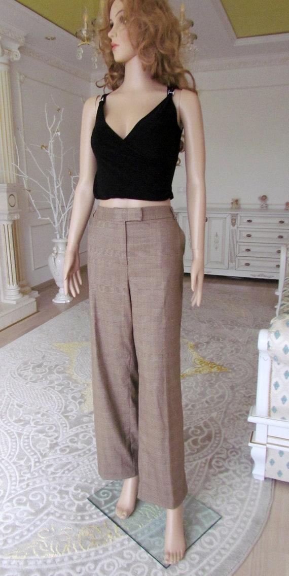 boho  pants Chino pants 80s brown Plaid pants sui… - image 6