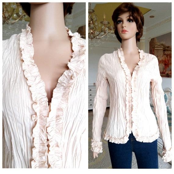 Ruffle blouse beige blouse Victorian Blouse Victor