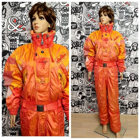 orange ski suit Vintage Warm Clothing Vintage Skii