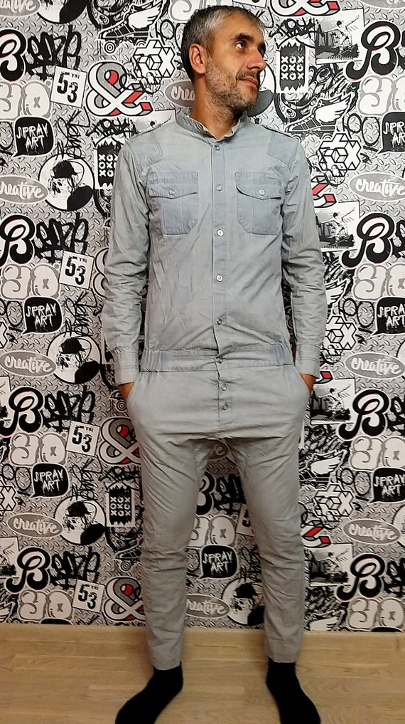 One Piece Striped gray Coveralls vintage gray Jump