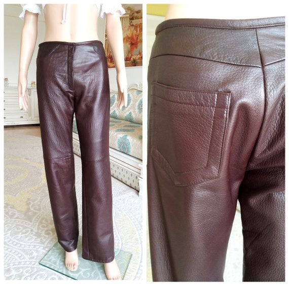 Leather Clothing womens Leather pants S Brown Leat