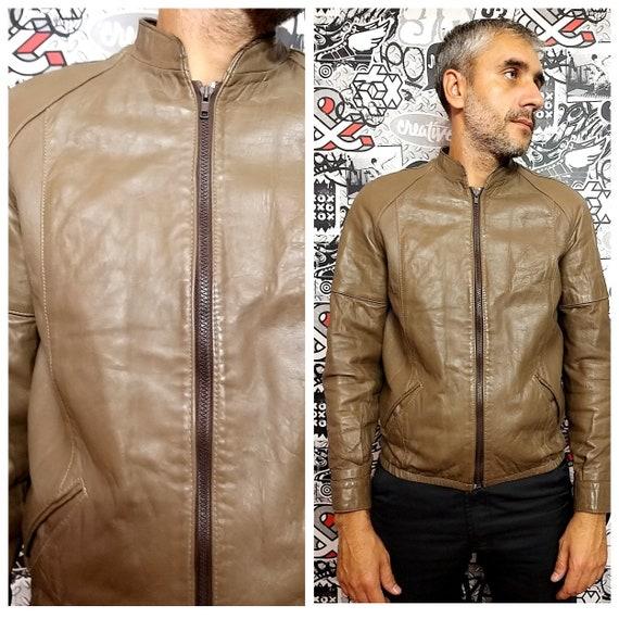 Mens jacket Mens Leather Jacket autumn Jacket brow