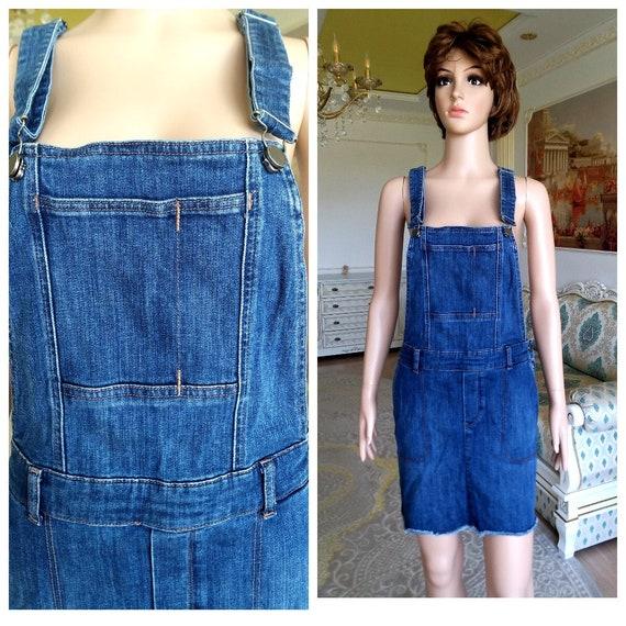 apron dress XL Denim skirt jean skirt Denim Pinaf… - image 1