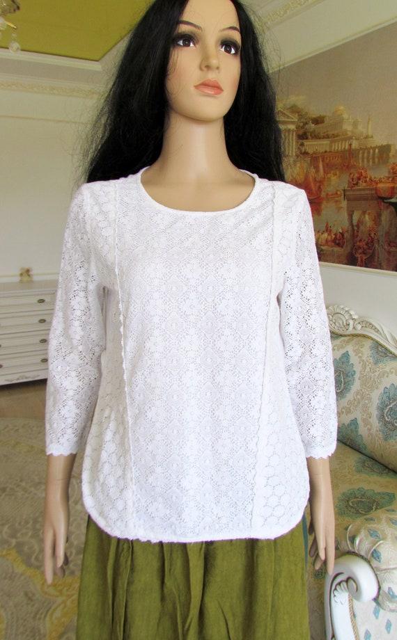 womens WHITE Blouse  womens blouse Victorian Clot… - image 2