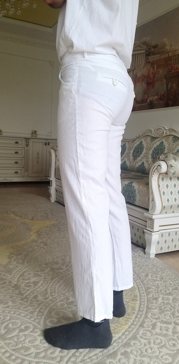Mens White linen Pants Mens linen trousers Mens l… - image 6