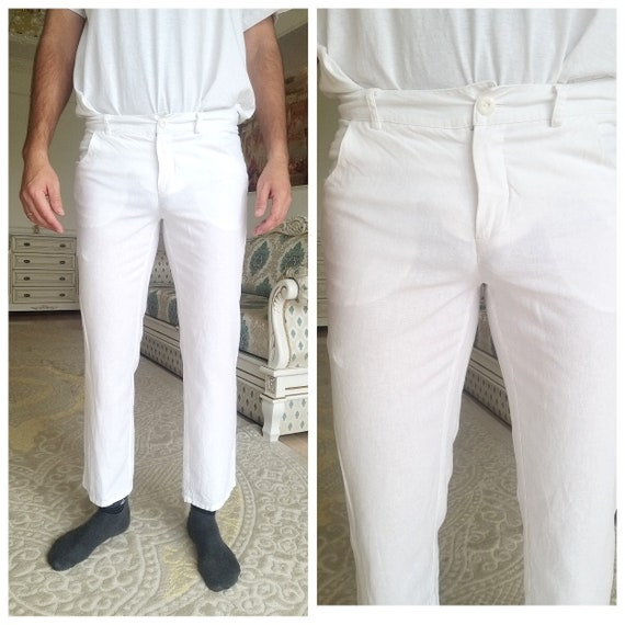 Mens White linen Pants Mens linen trousers Mens l… - image 1