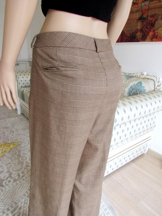 boho  pants Chino pants 80s brown Plaid pants sui… - image 4