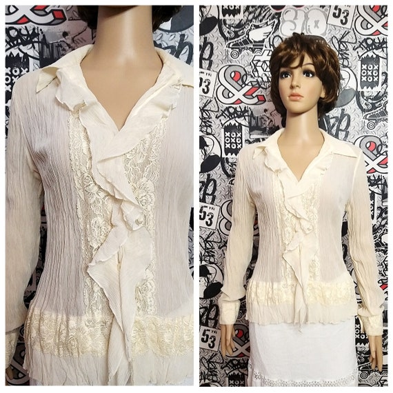 Beige Blouse womens blouse Victorian Clothing Vict