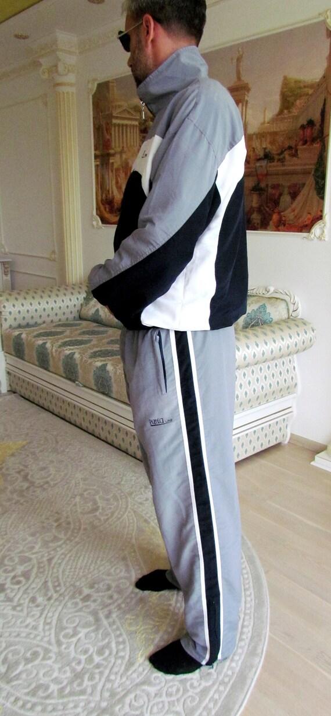 Mens sport suit vintage gray track suit Mens trac… - image 9