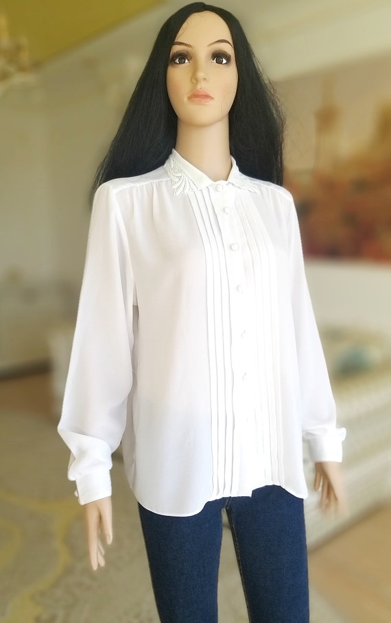 pleated white blouse Victorian Clothing Victorian… - image 5