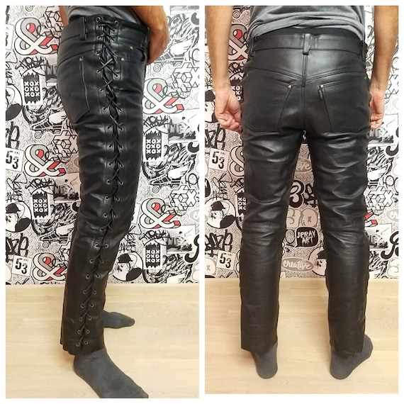 Mens Leather Clothing Western Leather pants Retro
