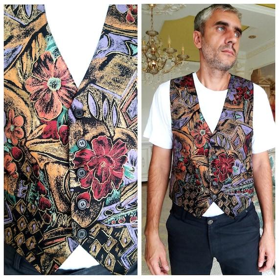 floral vest mens boho vest Flower vest   mens vest