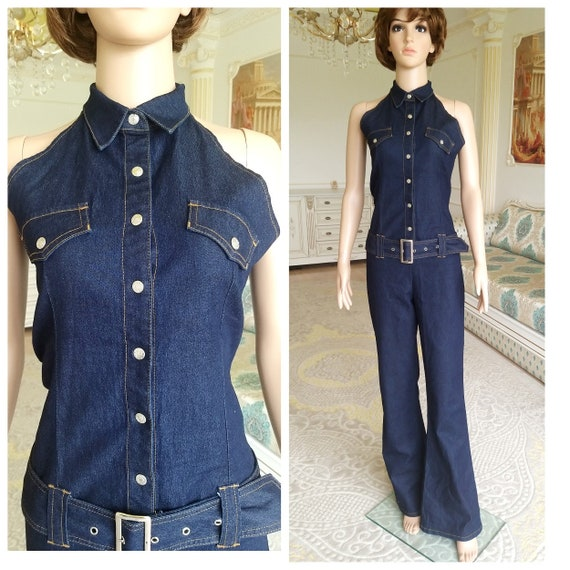 blue Denim Overall vintage Coveralls womens overal