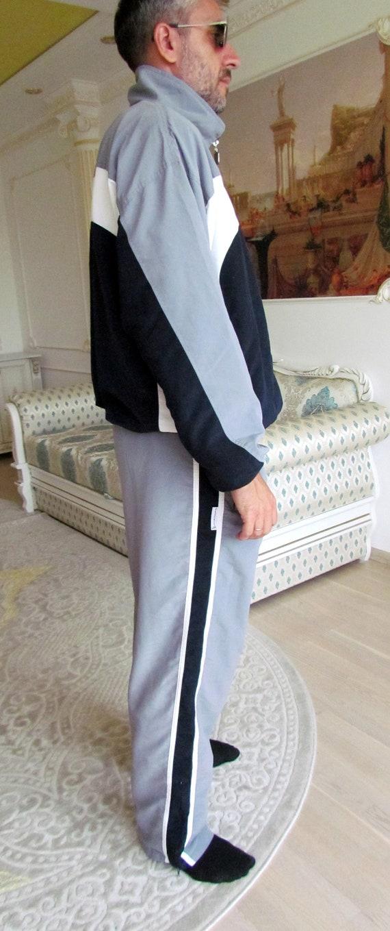 Mens sport suit vintage gray track suit Mens trac… - image 6