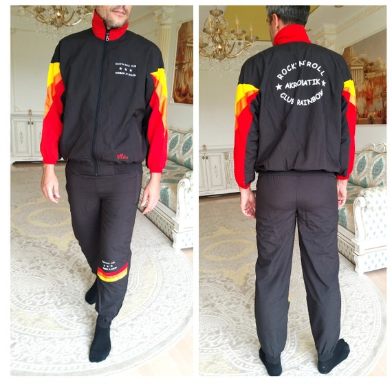 Mens sport suit vintage black track suit Mens trac